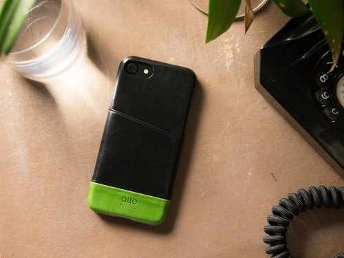 Alto iPhone 8 Leather Phone Case Back Cover 4.7吋Metro - Raven Black/Lime Green
