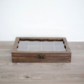 Solid wood walnut color jewelry storage box glass wooden box ring necklace