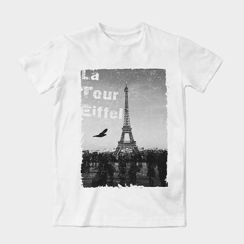 Neutral short-sleeved T-Shirt | hovering in Paris by dragging artwork Wang | Z999UT002