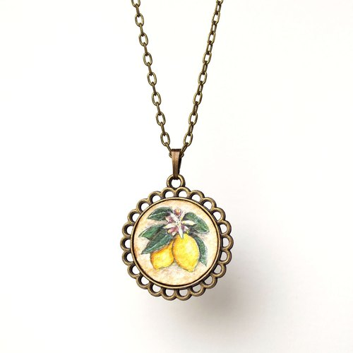 """Fruit illustration painted authentic"" retro vintage necklace lemon"