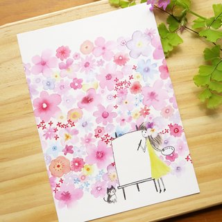 Flowers blossoming bright flowers postcard