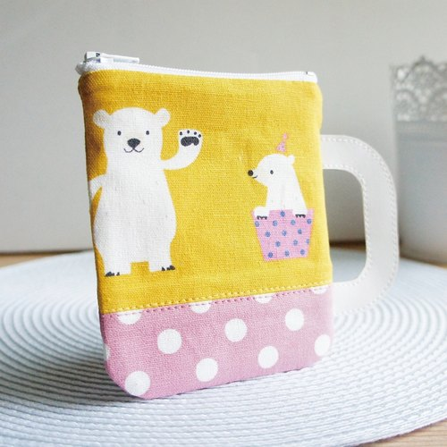 Lovely polar bear mug, multi-purpose hand-made purse, mustard / little pink (double-sided pattern, random 3 kinds of patterns shipments)