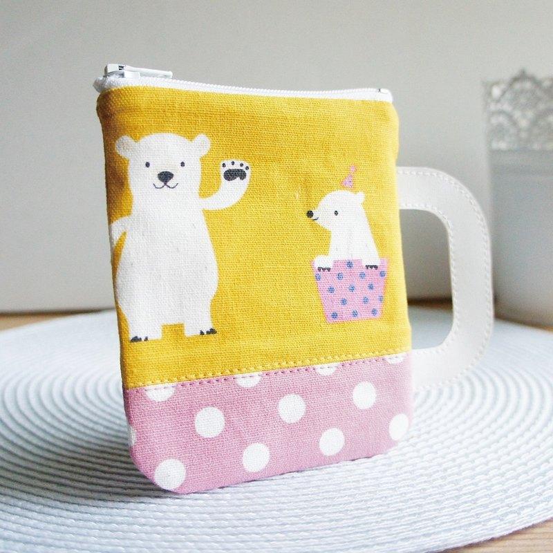 Lovely Polar Bear Mug, Multi-Purpose Coin Purse, Mustard / Dot Pink (randomly shipped)