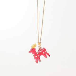a little Christmas red reindeer polka dots handmade necklace from Niyome clay.
