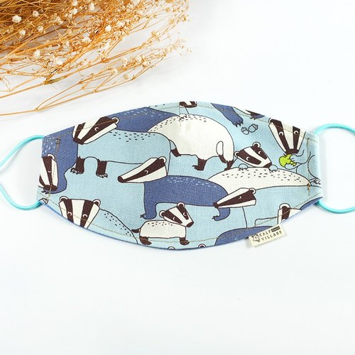 Calf Calf Village Charming village handmade cotton air pollution masks Away Japanese doll Meng Meng civet} {azure [M-02]