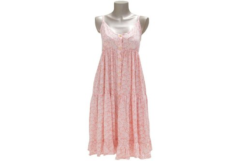 Adult coral pattern camisole dress Tiered <pastel pink>