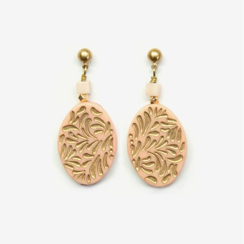 Etched Rose Pink Gold Vintage Acrylic Oval Earrings