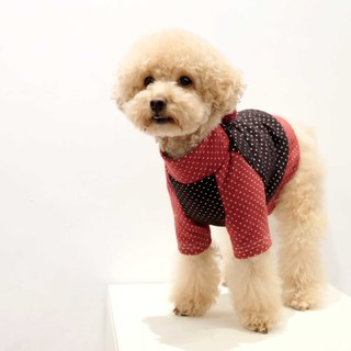 Chacha.metyou Black and Red Dotted Patchwork Top Dogs