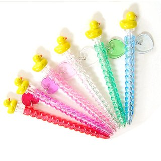 Yellow Duck Character Mechanical Ballpoint Pens with Love Heart Charm Lot of 6