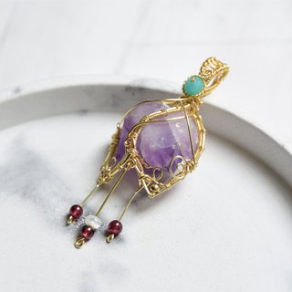 [Happy Return - Purple Lily of the Valley] Double-pointed purple backbone art copper wire woven pendant
