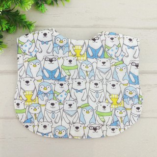 Polar bears and penguins. Japanese six-fold double-sided bib