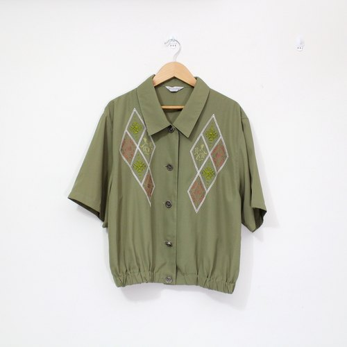 Takumi - embroidered camel dark green waist short sleeve shirt
