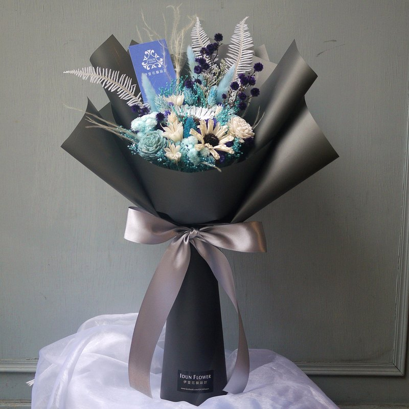 Xia Xia Forest - Blue and Purple Dried Flowers Dark Grey Black Bouquet (Can Stand)
