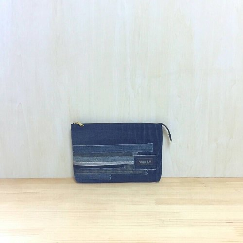 Made in Japan / denim / synthetic leather / clutch bag CE1 / navy blue
