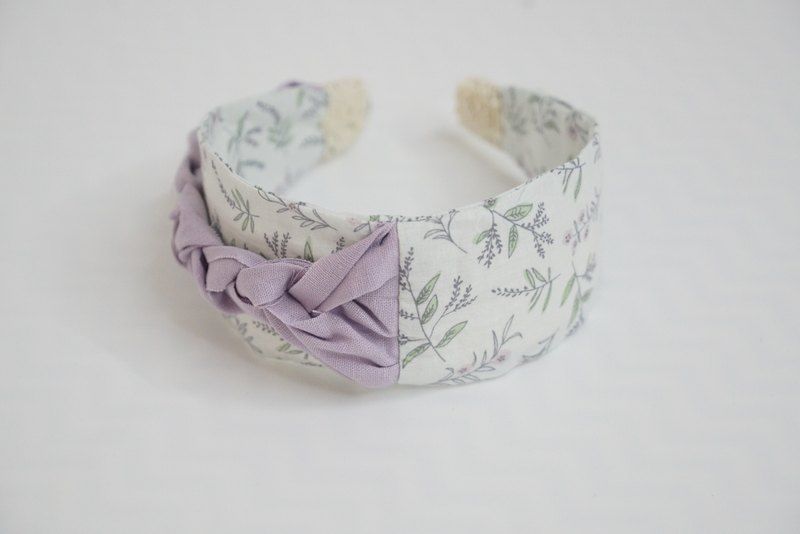 Lu Lita original handmade design headband that bowed gentle imported cotton and linen lavender purple art headband
