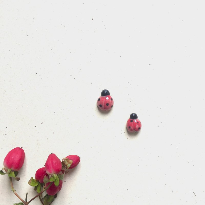 Ceramic Red Beetle Earring