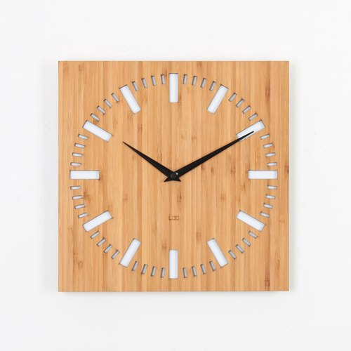 LOO bamboo mute wall clock |. White index