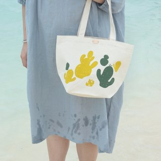 Cactus garden hand-printed canvas bag M