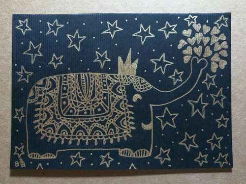 Elephant Stars - hand-painted original painting postcard