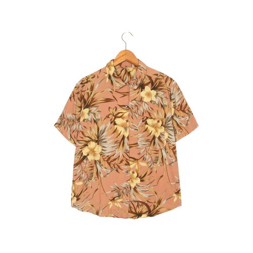 [Egg plant ancient] hibiscus flower printing ancient short-sleeved shirt
