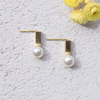 Brass Pearl Earrings 1046 - Decided
