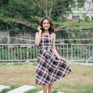 Checkered Dress Red Black Plaid Dress Vintage Style Dress Sundress Emily Dress