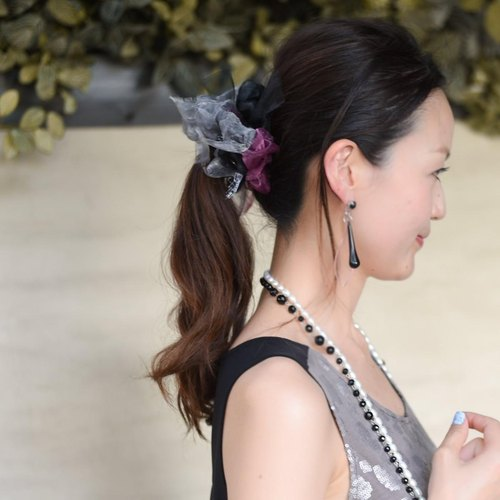 <party> Party Black : Blooming Sakiami Colourful Hair Scrunchy / Hair Accessory / Hair Tie