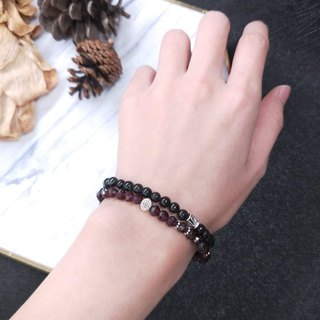 wristband. Cutting face red garnet. Black hair crystal bracelet