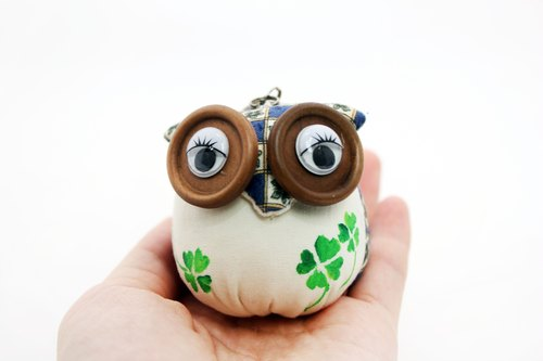 Owl Charm Key Ring Guardian Totem Soul Grass Blue / Hand painted