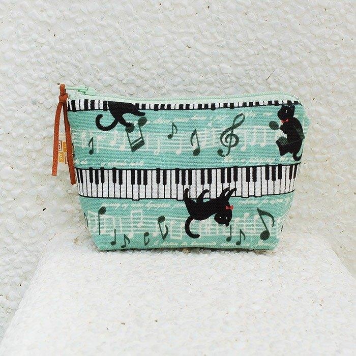 鋼琴黑貓_綠 零錢包