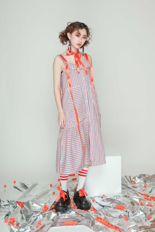 UF9193 independent design 17 summer asymmetrical pocket streamer decoration loose long striped striped dress