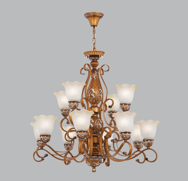 Country wind double deck 12 lamp chandelier-LS-7128-1