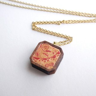 The necklace of etching print and wood < Wild flowers / Gold × Red >