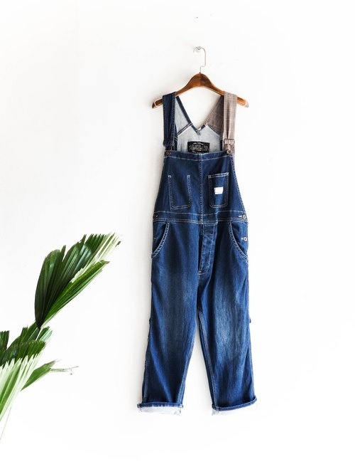 River Hill - deep blue comfortable denim coveralls youth logs Sling thin trousers overalls oversize vintage pounds neutral Japan