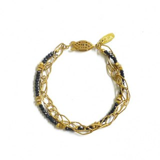 Ficelle | handmade brass natural stone bracelet | Spinel basket empty rock pie