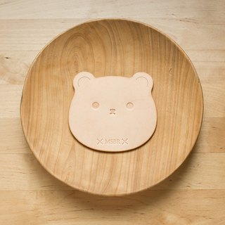 Animal series - primary color vegetable tanned leather coaster (bear)