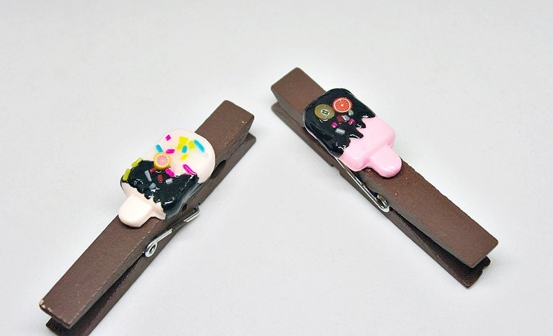 ➽ Clay Series - ice cream timber clip (Group 1 X2 a) - Living Accessories ◆◆ ◆◆