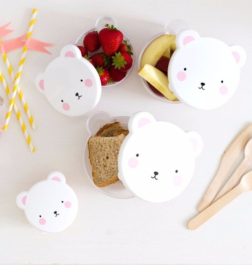 Netherlands | a Little Lovely Company ❤ healing pink bear picnic lunch box / snack box (4 into)