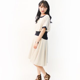 Vintage Japanese Elegant Simple Adult khaki Short Sleeve Vintage Dress Vintage Dress