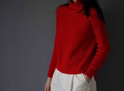 Grown-on collar Red Sweater 70% wool