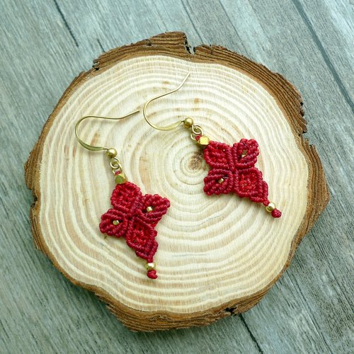 Misssheep- [A25-Red Cross] National Wind South American Wax Woven Brass Pearl Earrings