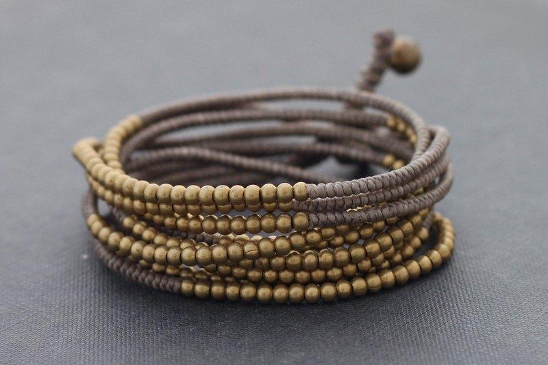 包裹串珠手鍊珠子手鍊黃銅卡其色包裹編織手鍊