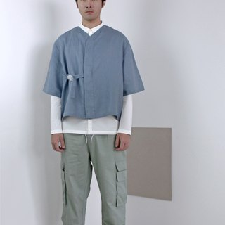 Shōto Linen Baseball Top - Steel Blue