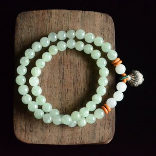 [Listen to the rain] natural jade round beads fresh literary bracelet