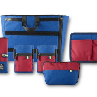 NESO complete set of blue and red accessory bags (internal main bag +5 accessories)