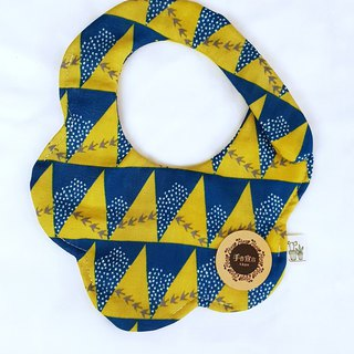 Gujia Yuezi designer cloth - blue yellow - eight layers of yarn 100% cotton casual arc shape bibs saliva towel