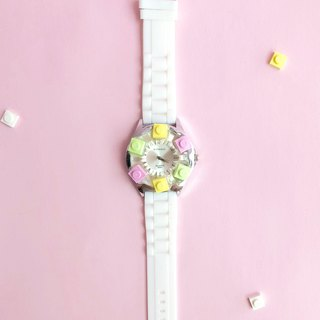 White Silicone LEGO Watch - Pink Light Yellow Light Green