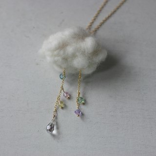 Transparent powder color Swarovski crystal rain drops necklace
