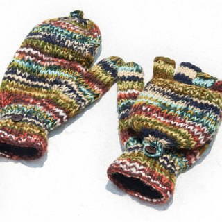 Hand-knitted pure wool knit gloves / detachable gloves / inner bristled gloves / warm gloves - gradient green forest