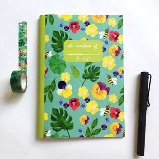 Honey bee  Notebook | A5 Grid Notebook, palm leaf notebook, monstera notebook